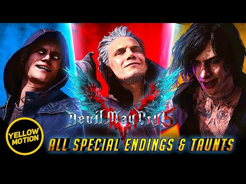 Devil May Cry 5 | Bloody Palace All Special Win Endings & Taunts of Nero, Dante & V thumbnail