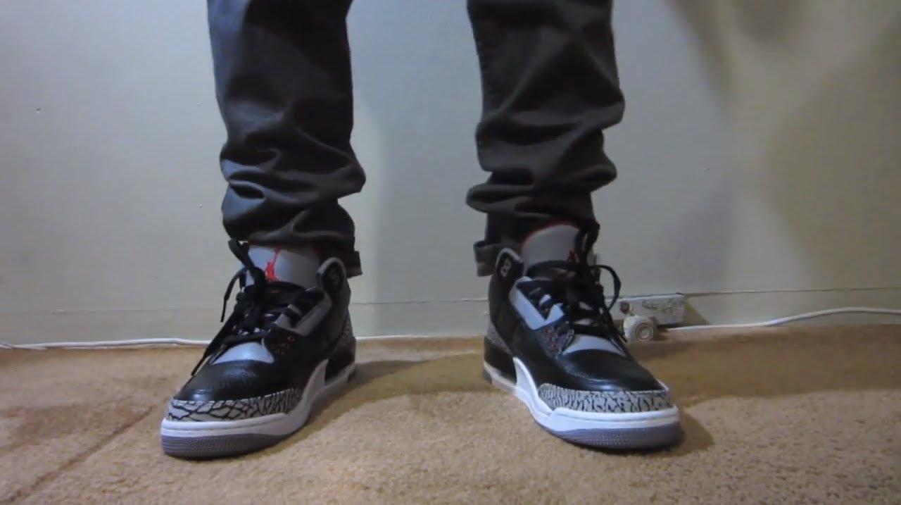 save off e9259 c8b39 Jordan 3 Black Cement On Feet