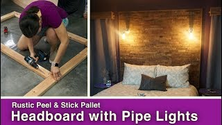 Rustic Peel & Stick Pallet Headboard with Pipe Lights