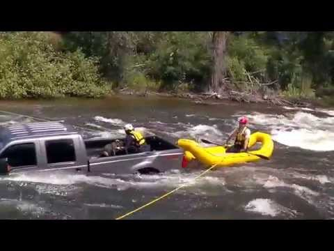 Rescuing a dog from the bed of a submerged truck