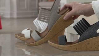 Skechers Sling Back Stretch Wedge Sandals - Smitten Kitten on QVC