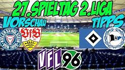 27.Spieltag 2.Liga Vorschau + Tipps: TOPDUELL HAMBURG - BIELEFELD + Hannover spielt erstmals wieder