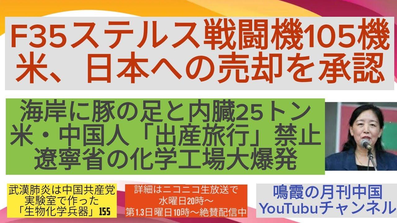 F35ステルス戦闘機105機を米が日本への売却を承認/海岸に豚の足と内臓21トン/米・中国人「出産旅行」禁止/遼寧省の化学工場大爆発