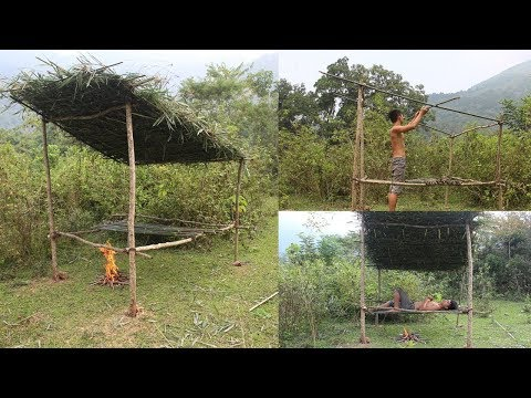 Primitive Technology: Build bed shed using only primitive tools and materials