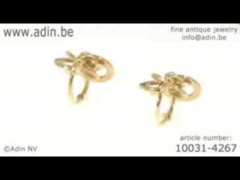 French Victorian gold knot earrings with real orient seed pearls. (Adin reference: 10031-4267) |
