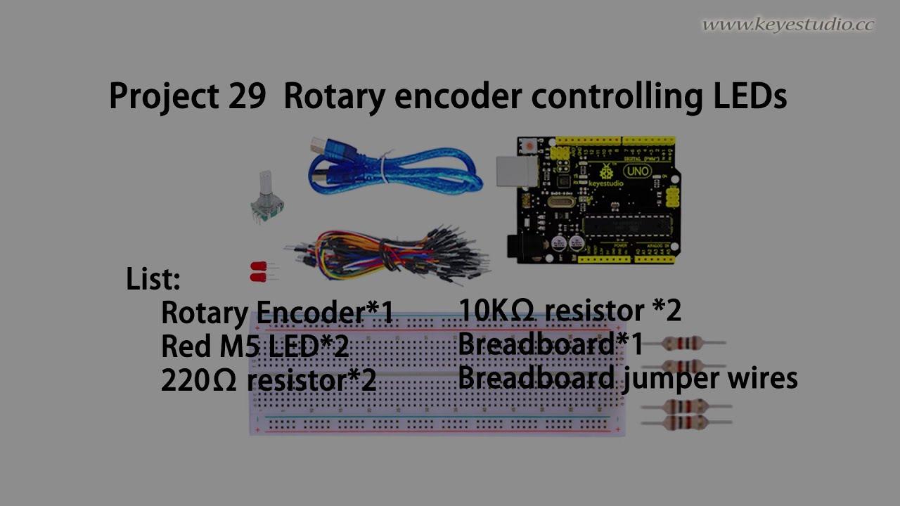 Rotary Encoder controlling LEDs - YouTube
