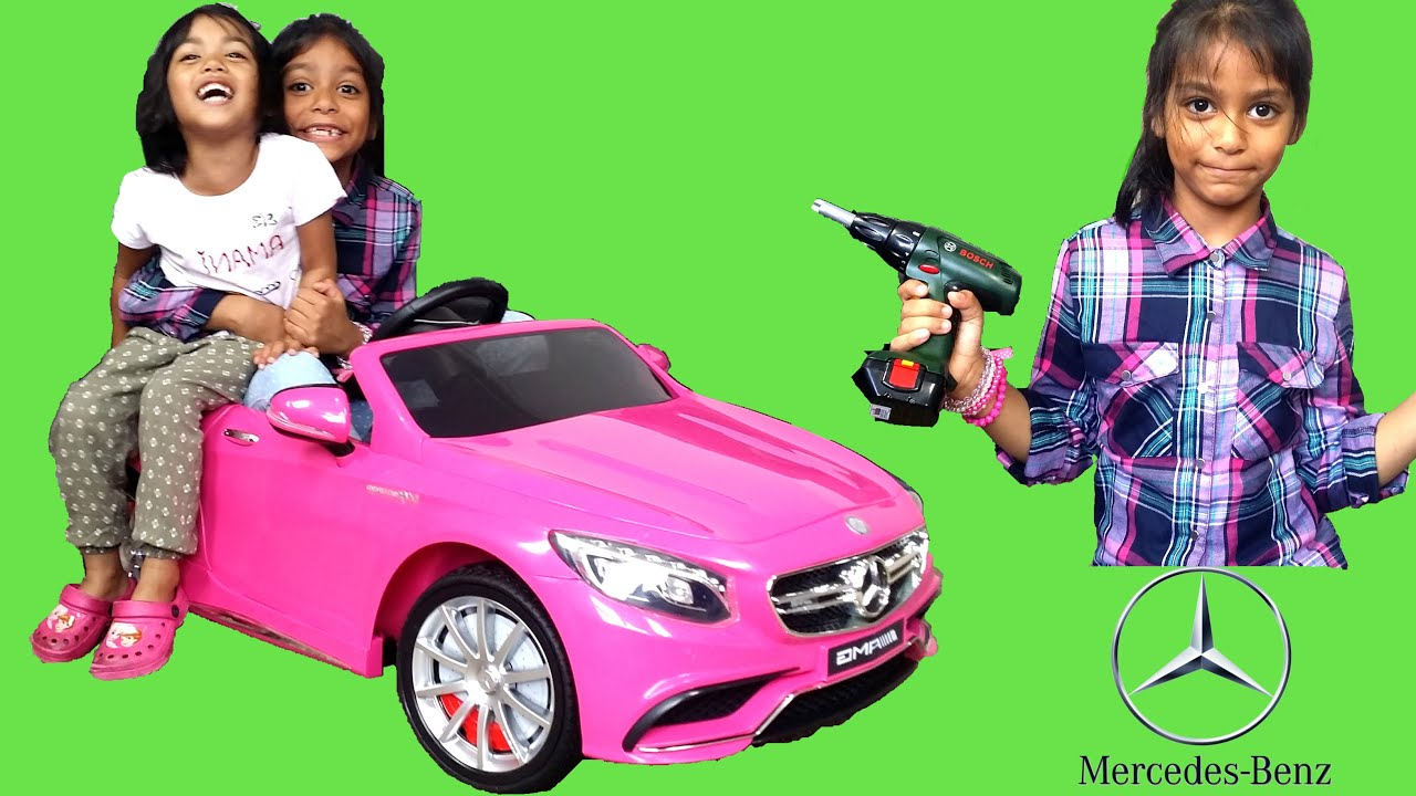 Pink mercedes s63 amg kids ride on car surprise unboxing for Pink mercedes benz power wheels