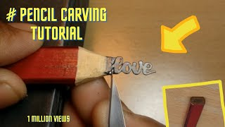 pencil carving art love text