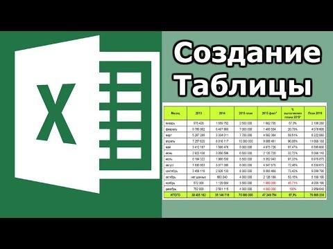 Как начертить таблицу в excel
