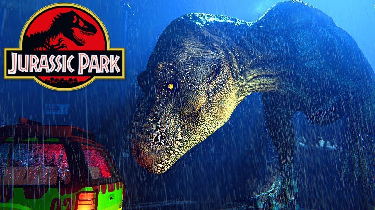Jurassic Park T Rex Breakout Escapando Do T Rex Cena Do Filme