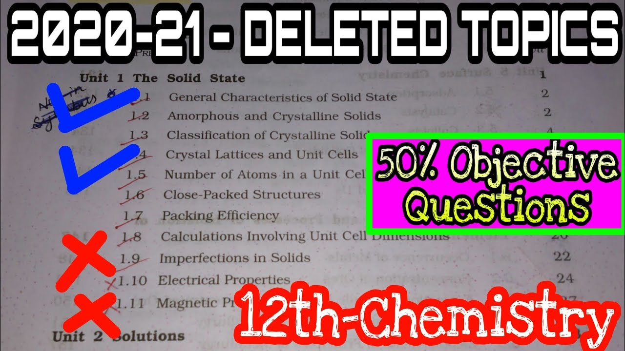 CBSE INCLUDED 50% MCQs 2020-21 | CBSE REVISED CHEMISTRY SYLLABUS 2020-21 | DELETED TOPICS NAME 12th