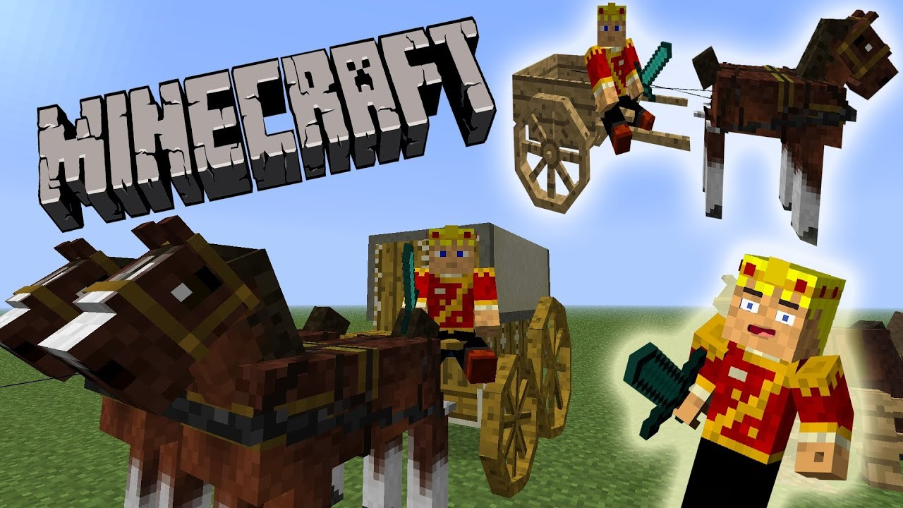 Minecraft horse wagons carriages race horses youtube for How to build a carriage