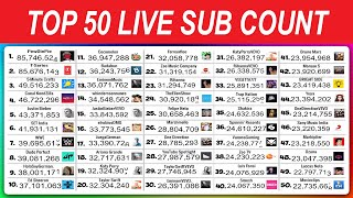 TOP 50 YouTuber Sub Count LIVE: PewDiePie VS T-Series, MrBeast & More!