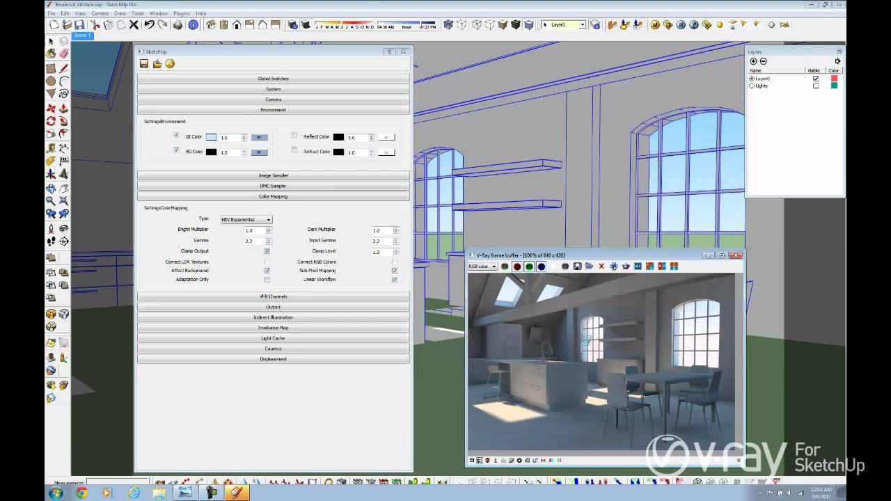 V ray for sketchup daylight set up interior scene tutorial youtube for Setting render vray sketchup exterior
