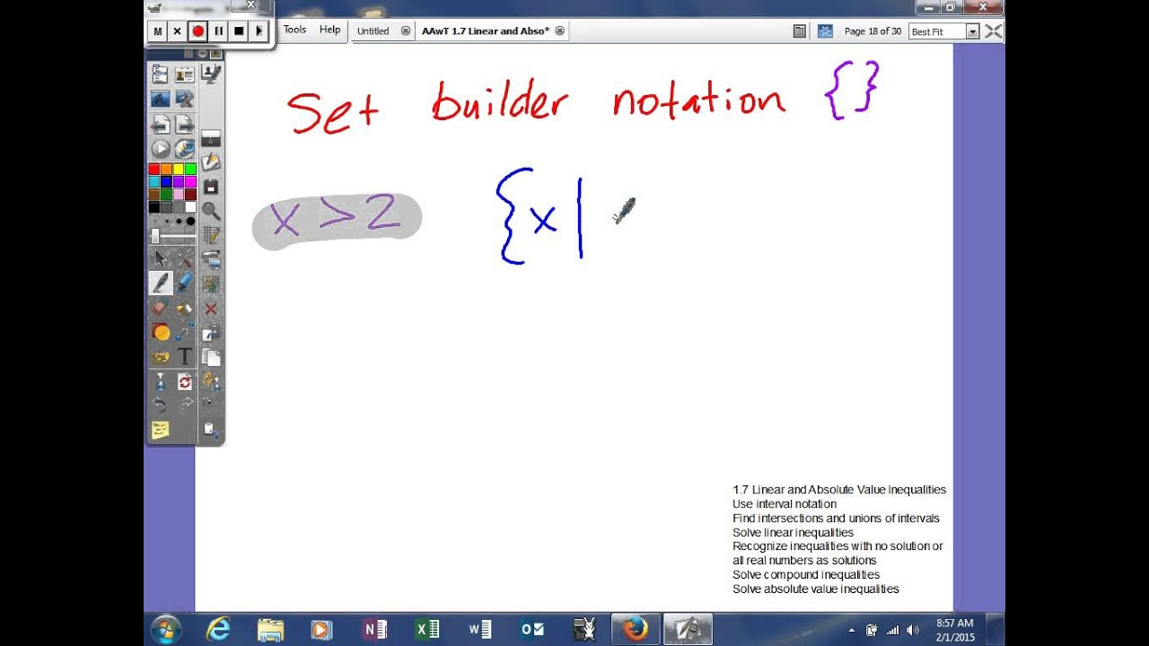 1.7 Linear and Absolute Value Inequalities - Set Builder ...