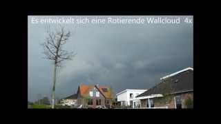 Schweres Unwetter mit Rotierender Wallcloud,Blitzeinschlägen,Hagel und Starkregen am 22.04.14