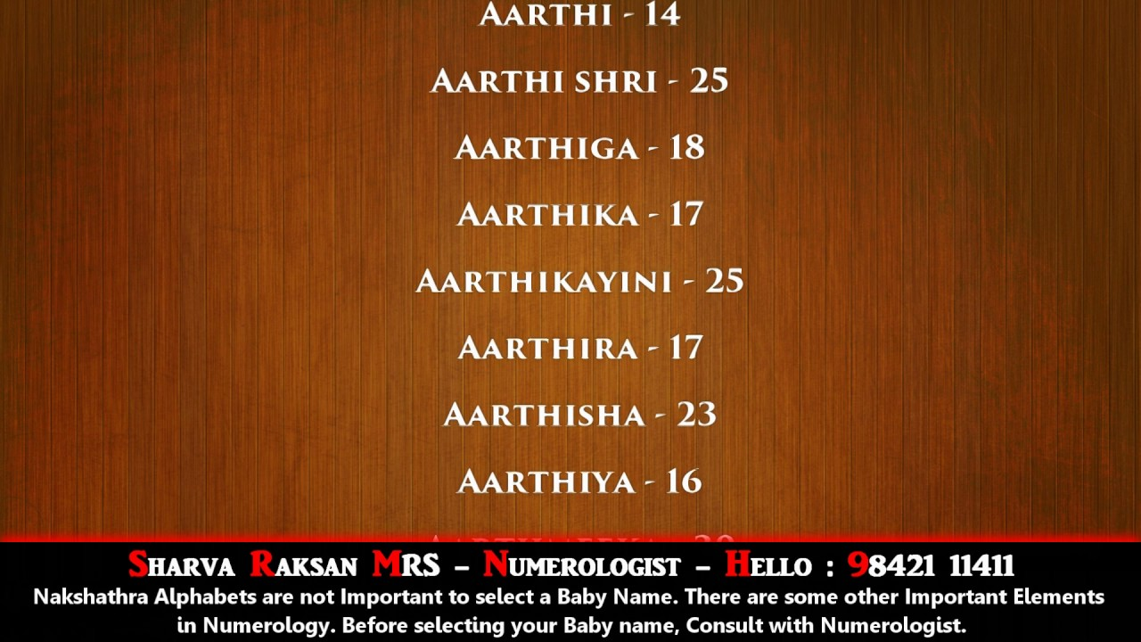 Modern indian baby names numerology
