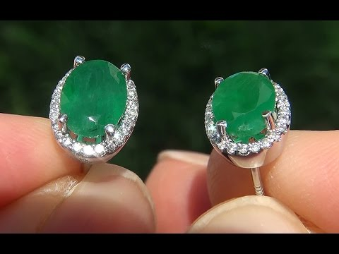 Estate 2 82 Ct Natural Colombian Emerald Diamond 14k White Gold Stud Earrings A141738