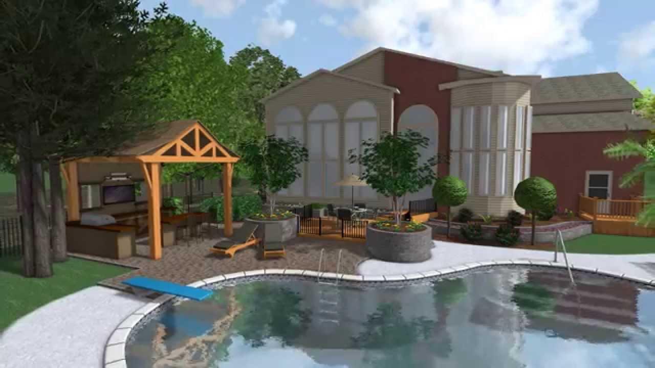 landscape design 3d digital walkthrough hd outdoor kitchen pool