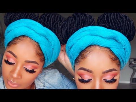 Summer Peach Eye Makeup Tutorial   Fun Double Bun Crochet Protective Style