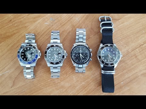 PERFECT 4 PIECE COLLECTION - Steel Sports Watches - ROLEX OMEGA