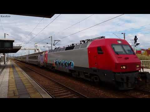 (4k UHD HDR) Comboios em movimento no apeadeiro da Bobadela (Portugal)
