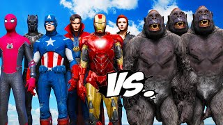 THE AVENGERS VS GORILLA ARMY - Hulk, Iron Man, Spiderman, Black Panther, Captain America vs Gorilla