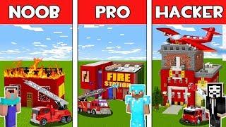 Minecraft - NOOB vs PRO vs HACKER : FIRE STATION in Minecraft ! Animation