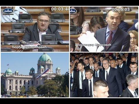 Skupština: Vukadinović - Makron opet ponizio Srbiju Marković (SNS) - Hajka na Vučića i Srbe