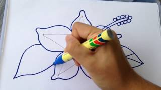 MUST WATCH AND LEARN HOW TO DRAW BEAUTIFUL HIBISCUS FLOWER