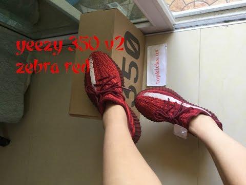 fb422991444 Adidas Yeezy 350 V2 Zebra Red On Feet Review - YouTube
