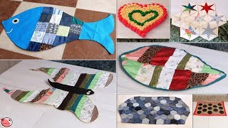8 Clothes Hacks !!! Doormat Making    Best Out of Waste    Old Clothes Reuse