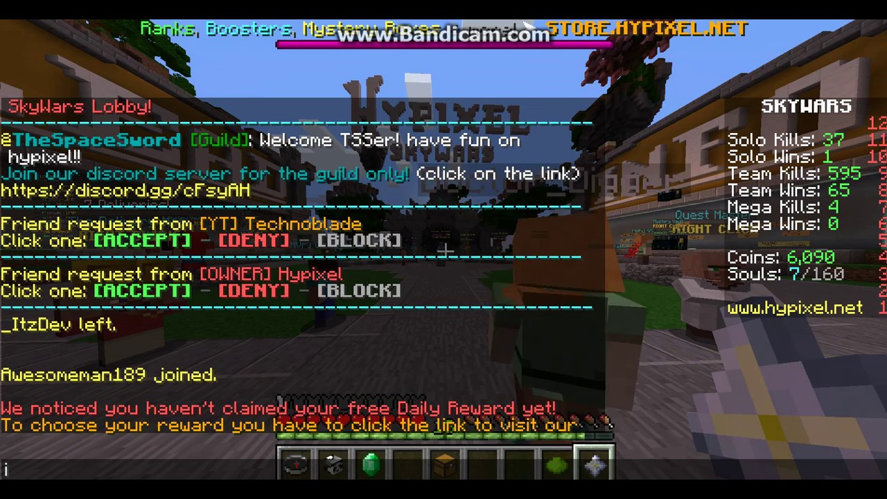 technoblade and the owner of hypixel hypixel sent me a friend request on  hypixel *not clickbait*