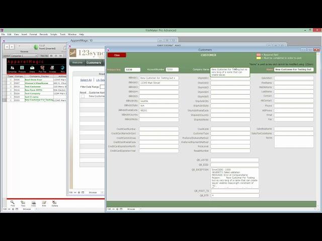 123sync for ApparelMagic 6 CustomerException 060116
