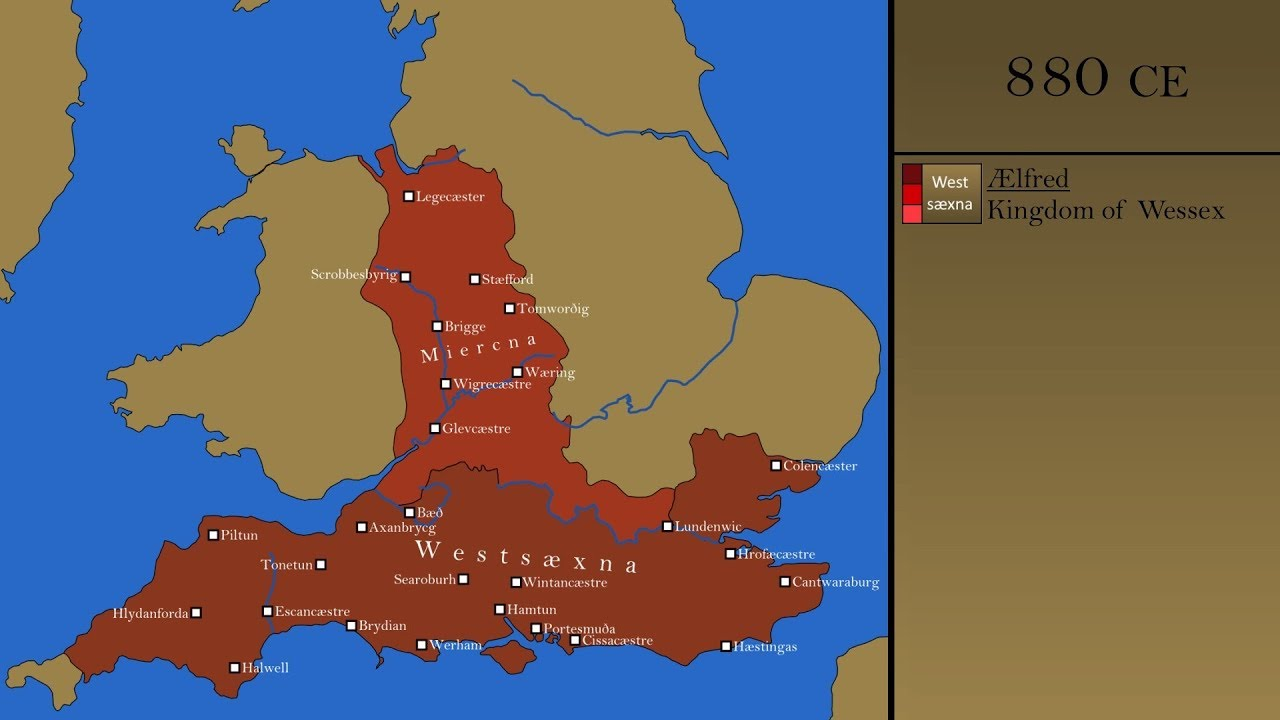 Map Of England 870.The History Of Wessex