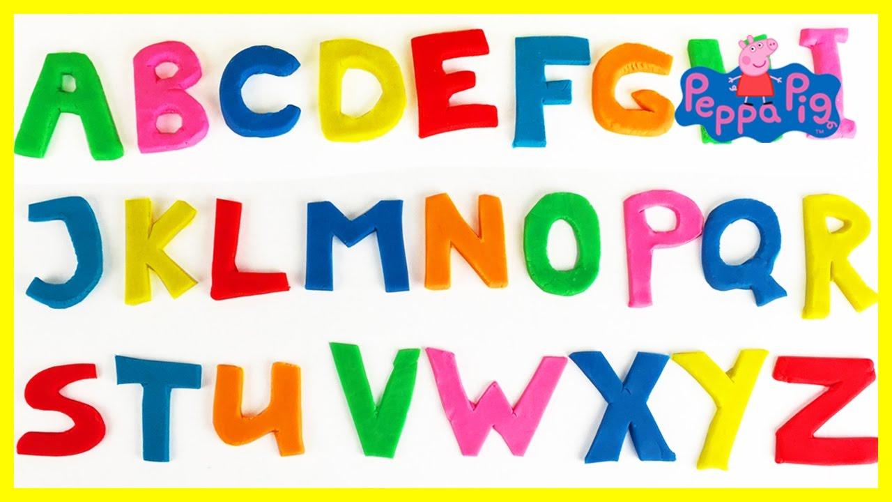 leer het alfabet engels abc klei letters peppa pig mickey mouse