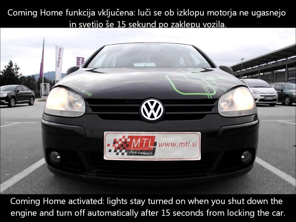 vw golf 5 coming home activation vkljuitev funkcije coming home
