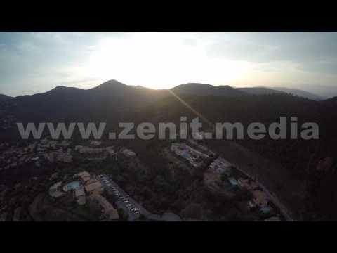 Cannes, sundawn in mountains 'aerial