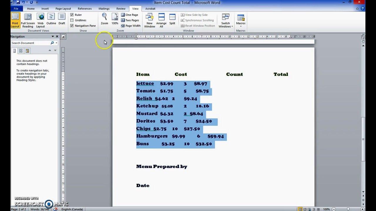 microsoft word tabs