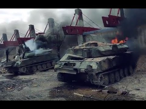 Jihadists burn down own armored equipment before withdrawal from Douma | April 2018 | Syria