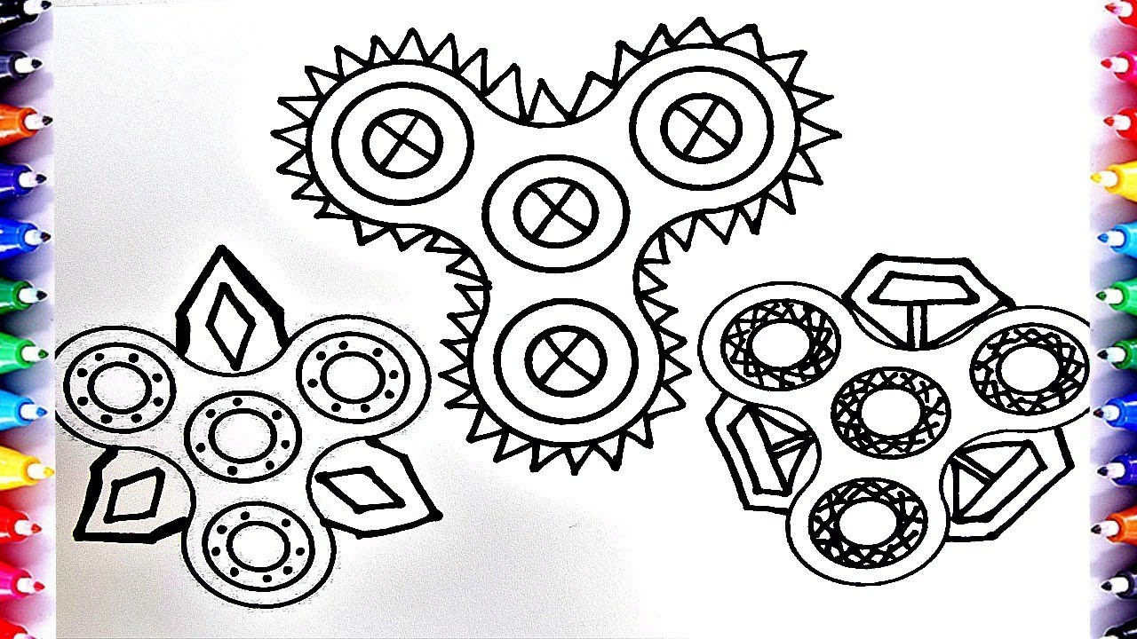 Learn Art Fidget Finger Spinner Coloring Pages For Kids