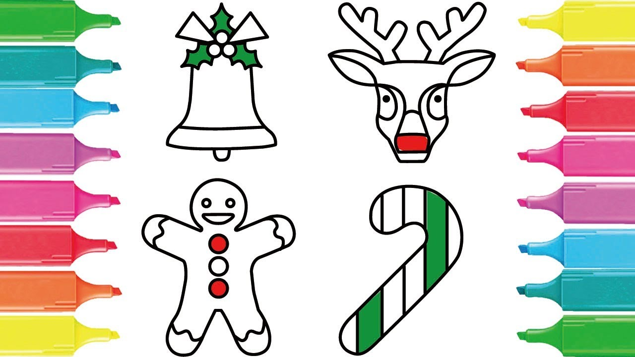 Learn How To Draw Gingerbread Man Christmas Bell Xmas Deer Candy Cane