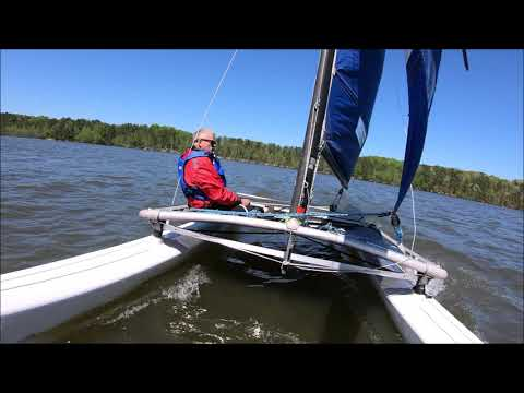 Hobie Cat beginner goes for a crazy ride