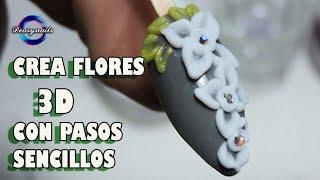 Tutorial flores 3d acrilico enrredadera sencilla - como hacer flores 3d sencillas Deasynails