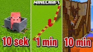 Minecraft BUDUJĘ KOLEJKĘ W 10 SEKUND, 1 MINUTĘ I 10 MINUT!