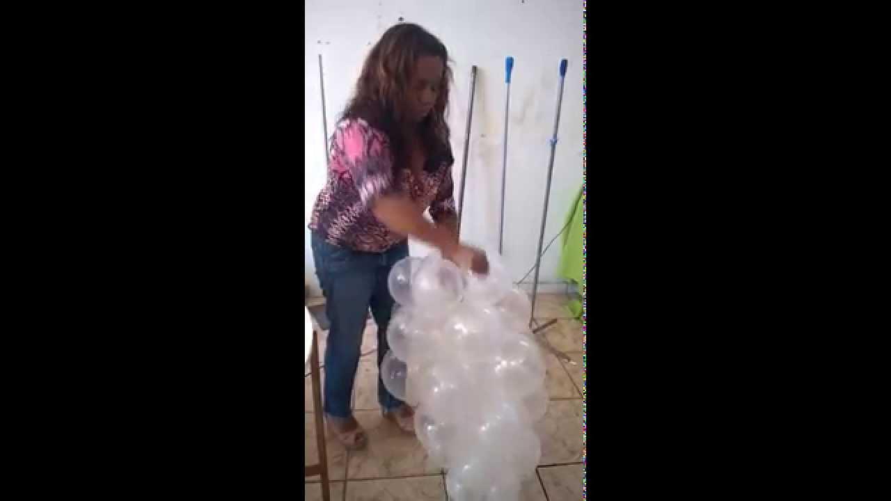 Curso de Decoraç u00e3o com Balões Nuvem Basica YouTube # Decoração Com Balões Como Fazer Passo A Passo