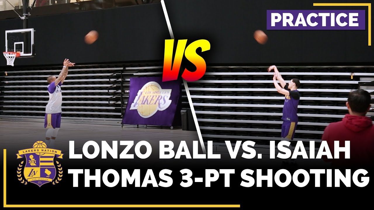 lonzo-ball-vs-isaiah-thomas-in-3-point-shoot-around-after-practice