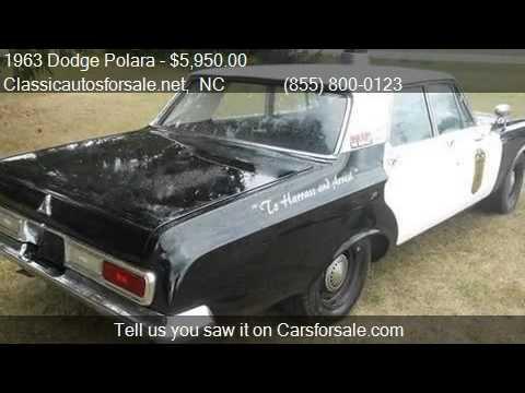 1963 Dodge Polara Police Car - for sale in RALEIGH, NC 27603 #VNclassics - YouTube