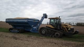Soybean Harvest 2016 Cat MT765C Tractor and Kinze 1050 Grain Cart