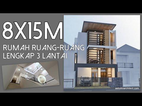 Rumah Ruang-ruang Lengkap 3 lantai [8x15m]